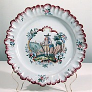 Antique 19th C SWISS FAIENCE Plate 'Appenzell' Louis XV decor Rare and Precious