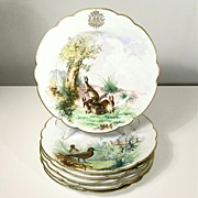 SOLD Set of 19th C French PARIS PORCELAIN Artist HP Game Plates by Hache & LeHalleur