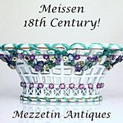 1760 Magnificent 18th C MEISSEN BASKET Centerpiece German Rococo Porcelain
