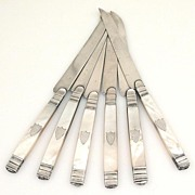 Set Antique FRENCH SILVER & MOP PEARL KNIVES w Silver Blades for Cheese or Dessert c ...