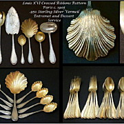 Antique French VERMEIL Sterling Silver 50 pc Flatware Service for 4 Courses! Shell Ice Cream .