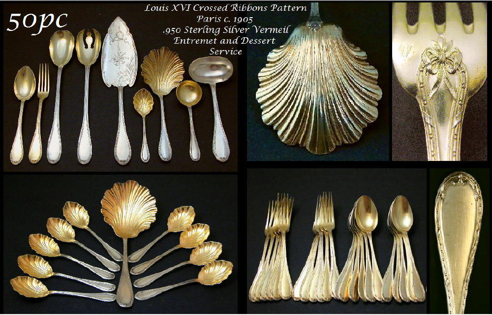 Antique French VERMEIL Sterling Silver 50 pc Flatware Service for