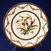 19th C French T&V LIMOGES Porcelain BOTANICAL Plate Orchids Artist Signed c. $350 when ...