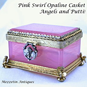 19th C French Opaline Glass Casket Box Pink Swirl w Gilt Bronze Mounts, Silver Angel ...