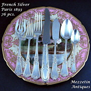 Antique French Sterling Silver FLATWARE SET 19th C Dinner & Entremet Sizes plus Fish Service!