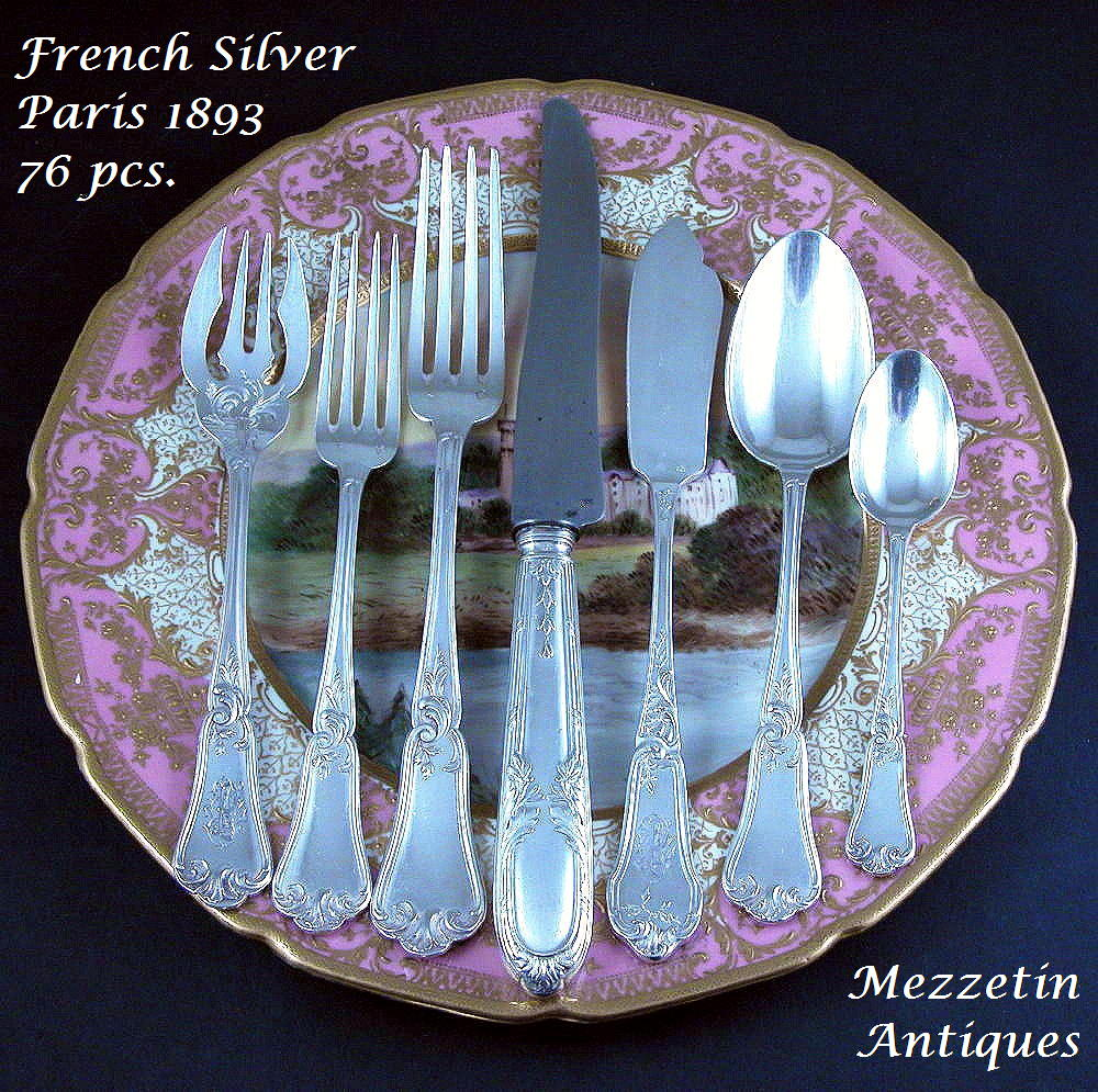Antique French Sterling Silver FLATWARE SET 19th C Dinner