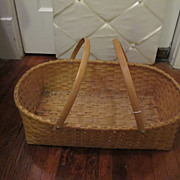 SOLD 1989 Double Handle Handwoven Basket