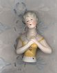 2 3/4&quot; Vintage China Pincushion Doll with Yellow Bodice