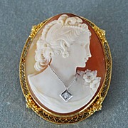 Antique Cameo 14K Brooch