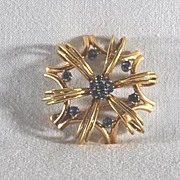 Gold Brooch / Pin with Blue Sapphires, Vintage