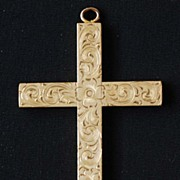 Jewelry: Vintage: Pendant: Cross: 14K Gold: Etched