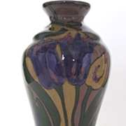 Art Decorated Pottery Vase, Vintage