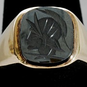 Man�s 10K Yellow Gold Hematite Cameo Ring, Vintage