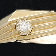 Man�s Art Deco Style 10K Gold Ring, Vintage