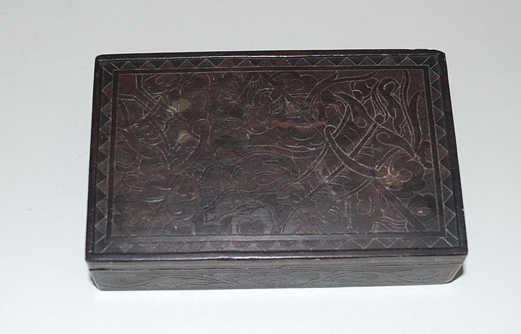 Antique Soapstone Covered Box, Intricately Carved