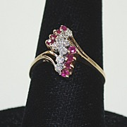 Vintage Ladies Ruby / Diamond Ring, 10K Gold