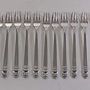 Vintage Set of Ten (10) Sterling Silver Cocktail Forks, International