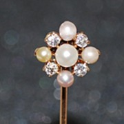 Antique Pearl & Diamond Stick Pin