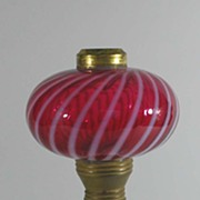 Antique Milk Glass Cranberry Optic Swirl Lamp, Fenton