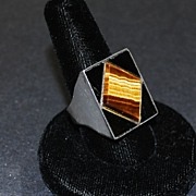 Man�s Sterling Silver Ring with Tiger Eye & Black Onyx, Vintage