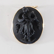 Antique Carved Lava Brooch & Pendant, 18K Gold