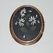 Antique Pietra Dura Brooch, 14K