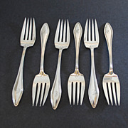 Antique Matched Set of Six (6) Sterling Silver Towle Salad Forks, Mary Chilton