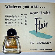 SALE Vintage �Flair� Sample/Echantillon on Yardley Advertising Card