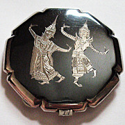 REDUCED Vintage Siam Sterling Nielloware Compact-Figures Both Sides