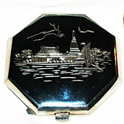 REDUCED Fabulous Thailand Sterling Silver Compact--Designs on Lid & Base