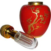 SALE Gorgeous  DeVilbiss Chinese Red & Gold Ginger Jar Atomizer