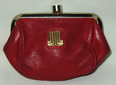 "Retro ""Lanvin Paris"" Red Leather Gold Logo Coin Purse"