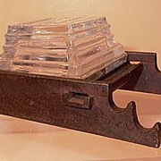 Cast Iron and Glass Inkwell Bar-Lock Premium Salesmen's Sample