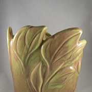 West Coast Pottery California Mid Century Modern Leaf Vase