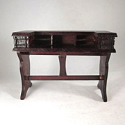 "German 1"" Red-Stained Desk Dollhouse Furniture"