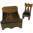 Star Novelty Works 1-1/4&quot; Bed and Rocker c1910 Dollhouse Furniture