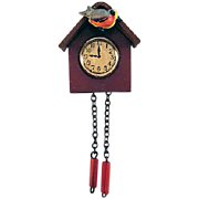 Wonderful Hard Celluloid Cuckoo Clock Dollhouse Accessory
