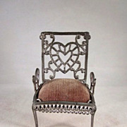 "Adrian Cooke 3/4"" Soft Metal Chair with Heart Design Dollhouse Furniture"