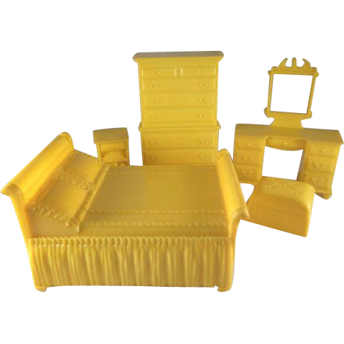 Marx 3 4 5 bedroom pieces hard plastic dollhouse furniture from milkweedantiques on ruby lane Plastic bedroom furniture