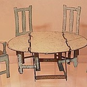 Incredible Tin Gate Leg Table & 4 Chairs Dollhouse Furniture