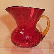 Crackle Glass Ruby with Yellow Handle Pitcher by Rainbow