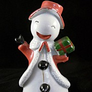 Made in Japan Smiling Mrs. Snowman Ceramic Christmas Bell