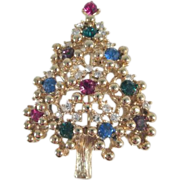 Eisenberg Christmas Tree Pin with Rhinestone Ornaments
