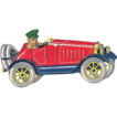 Cardstock Boy Driving Roadster Vintage Christmas Ornament