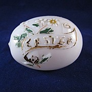 Milk Glass Embossed Easter Egg Decoration