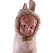 Easter Cotton Bunny with Celluloid Child's Face with Candy Basket Container