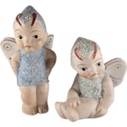 Pair of Bisque Butterfly Children with 'Snow' Japan Figures