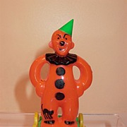 Vintage Rosbro Hard Plastic Clown on Wheels with Cat on Leg Decoration