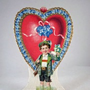 Boy is in a Heart and Holds Forget me Nots Fold Out Germany Valentine