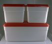 Set of 3 Red and Ivory Hard Plastic Refrigerator Dishes